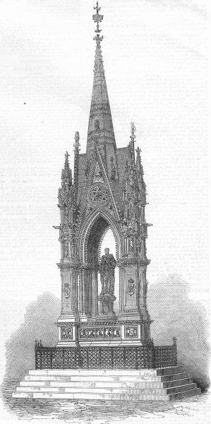 LANCS. Manchester Albert memorial, inaugurated, antique print, 1867