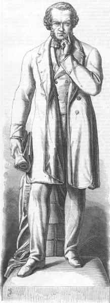Associate Product LANCS. Marble statue of Cobden, Peel Park, Salford, antique print, 1867