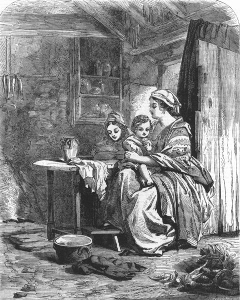 Associate Product FAMILY. Reading a chapter, antique print, 1855