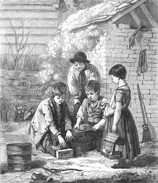 Associate Product CHILDREN. Expectation, antique print, 1855