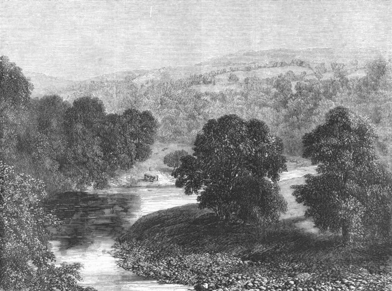 Associate Product YORKS. Valley of the Wharfe, antique print, 1855