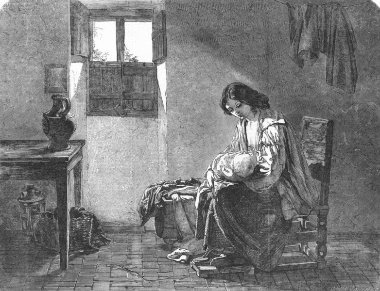 Associate Product FAMILY. The mother, antique print, 1855