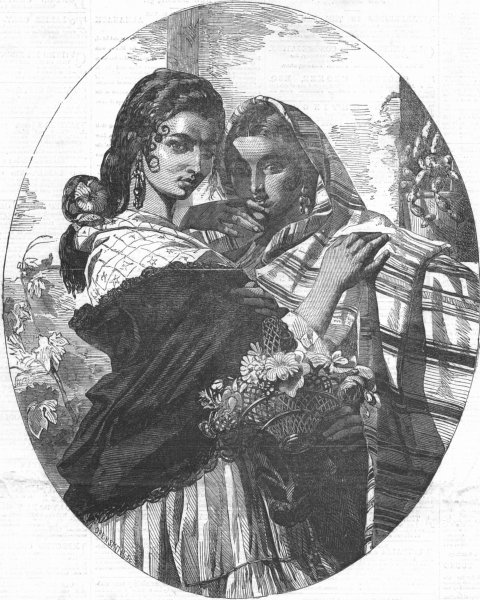 Associate Product FAMILIES. The Spanish gipsy sisters, antique print, 1855