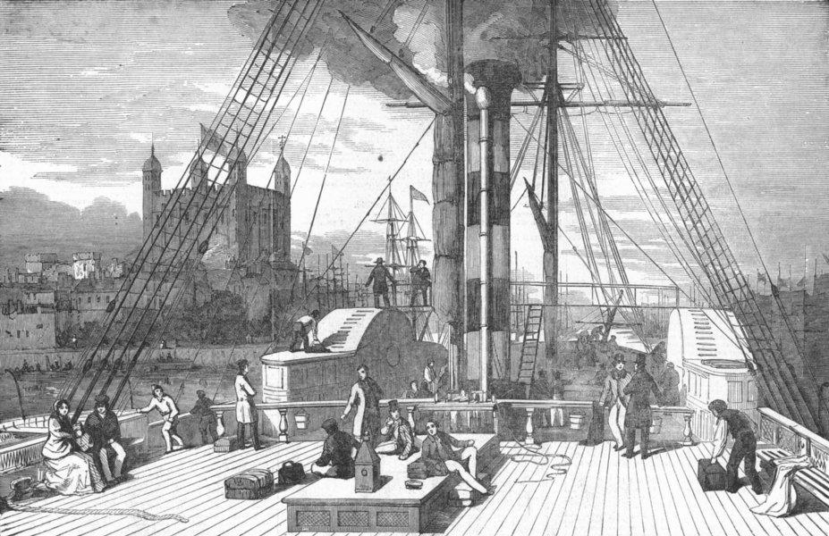 Associate Product LONDON. Departure of 'John Bull' ship, antique print, 1851