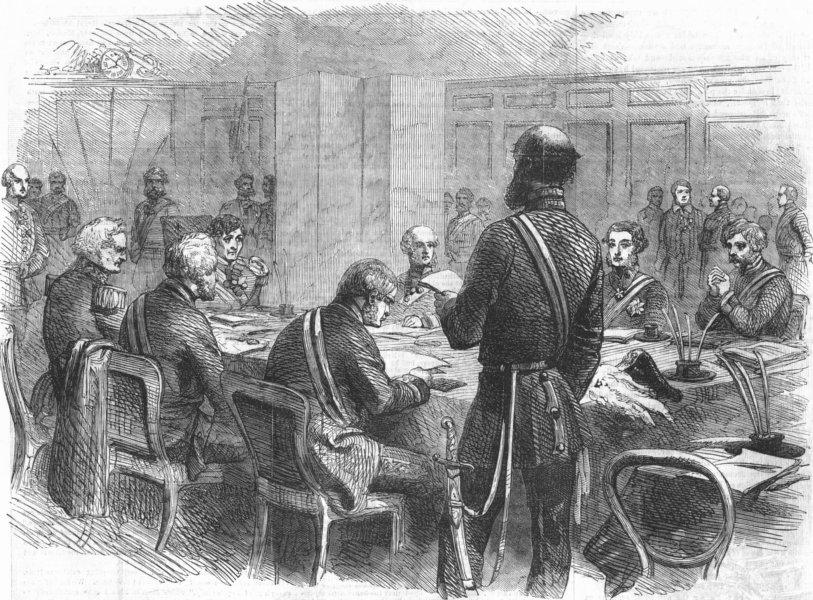Associate Product MILITARIA. Crimean inquiry-exam of Earl Lucan, antique print, 1856