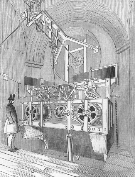 Associate Product LONDON. Perspective Gt clock of Royal Exchange, antique print, 1844