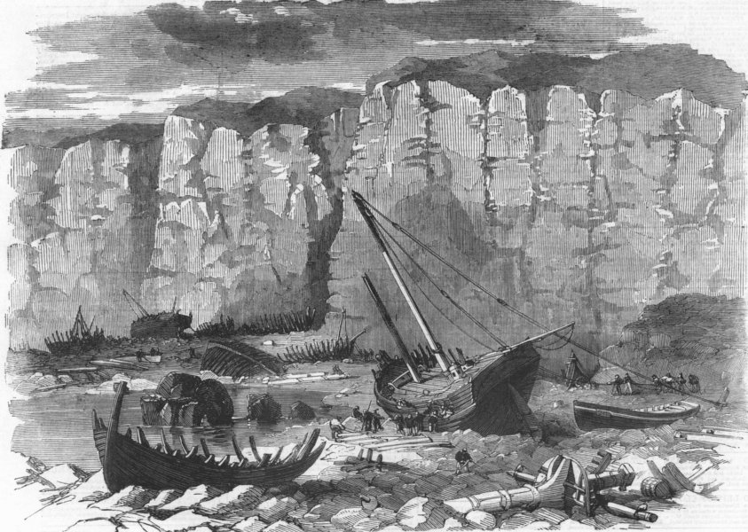Associate Product YORKS. Wrecks of fishermen's boats, Filey Bay, antique print, 1860