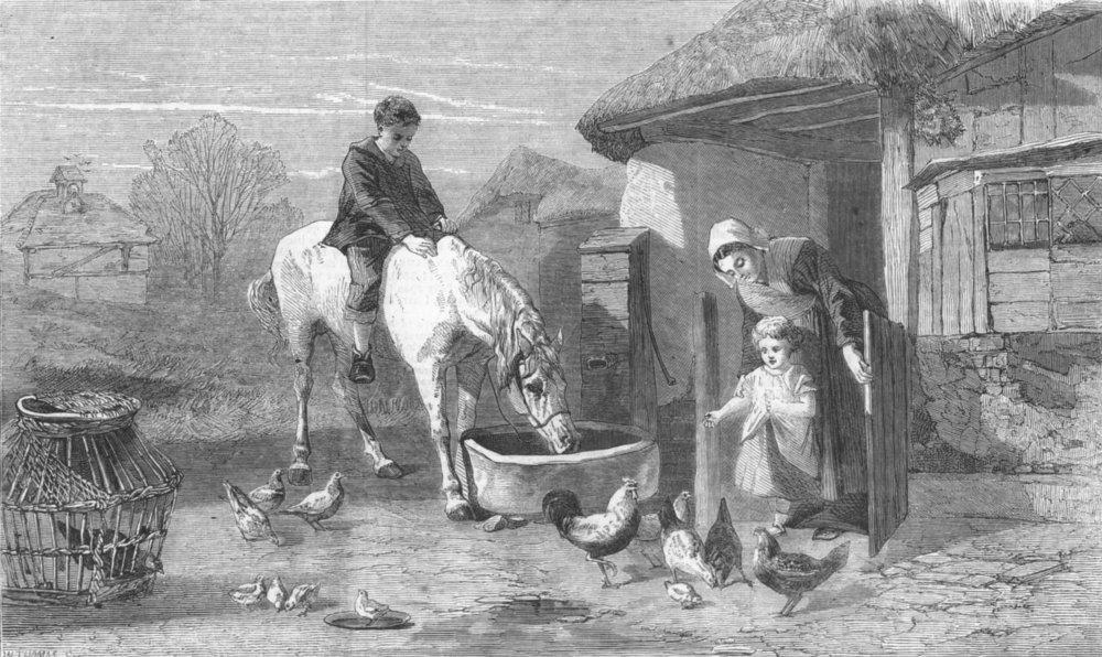 Associate Product FARMING. The farmhouse porch, antique print, 1860