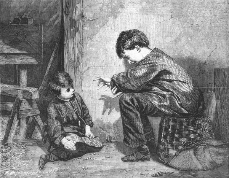 Associate Product CHILDREN. The shadow on the wall, antique print, 1860