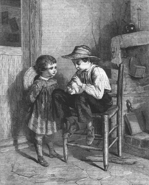 Associate Product CHILDREN. The lesson on the flageolet, antique print, 1860