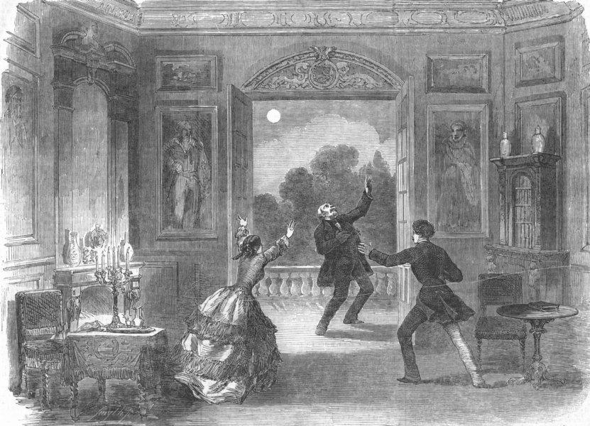 Associate Product LONDON. Drama Chateau, Haymarket theatre, antique print, 1854