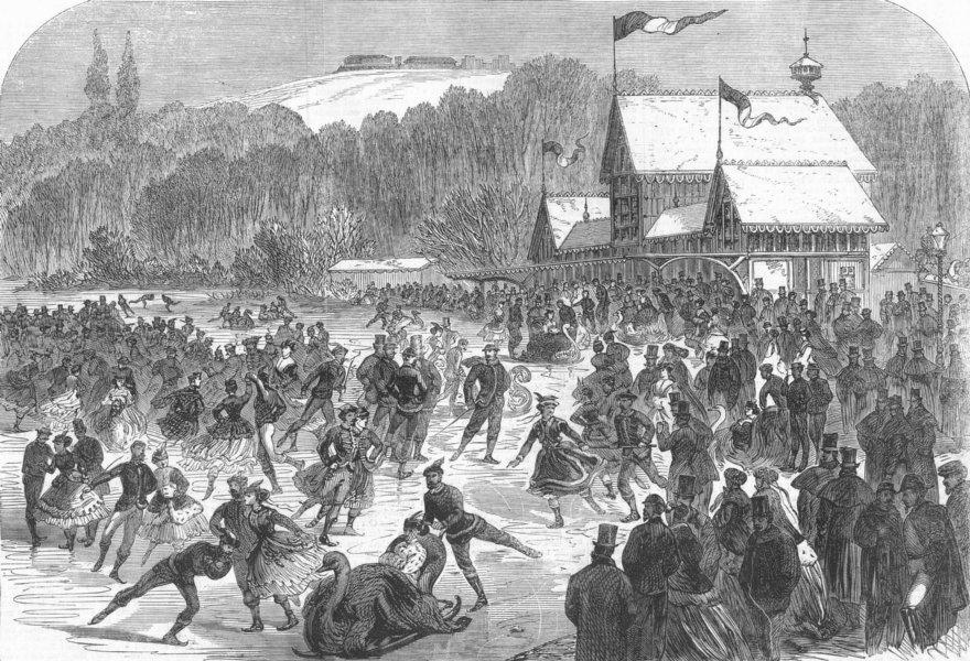 Associate Product NAPOLEON. Emperor skating, Bois de Boulogne, Paris, antique print, 1867