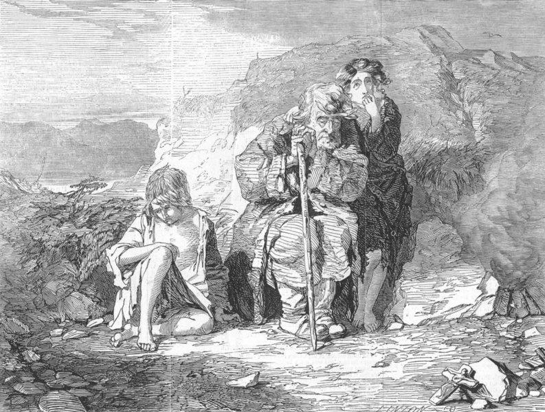 Associate Product IRELAND. Irish mendicants, antique print, 1845