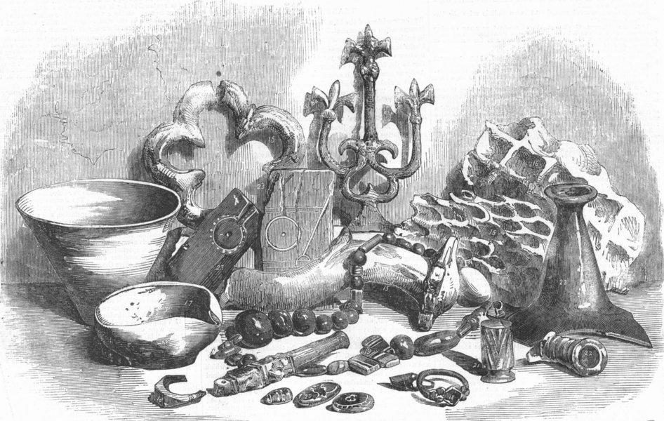 Associate Product DECORATIVE. Pottery, ironwork, glass , antique print, 1857
