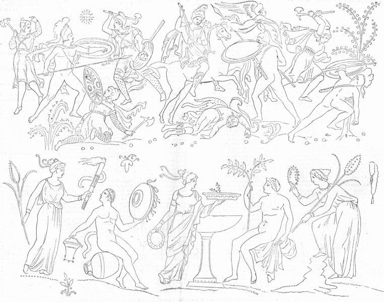 Associate Product MILITARIA. Figures from painted Vase of Darius, antique print, 1857