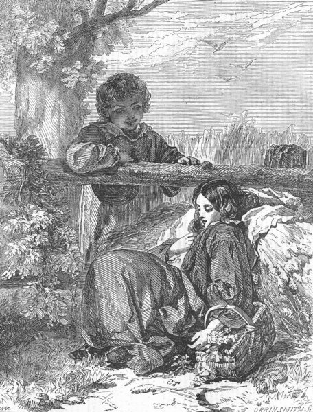 Associate Product CHILDREN. Simon and Iphigenia, antique print, 1856
