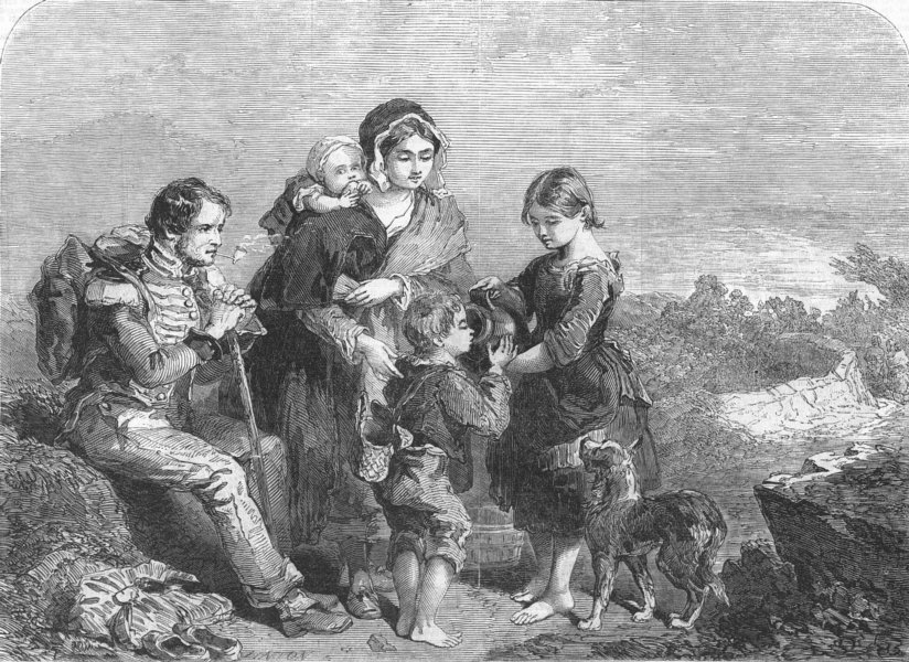 Associate Product FAMILY. roadside travellers, antique print, 1846