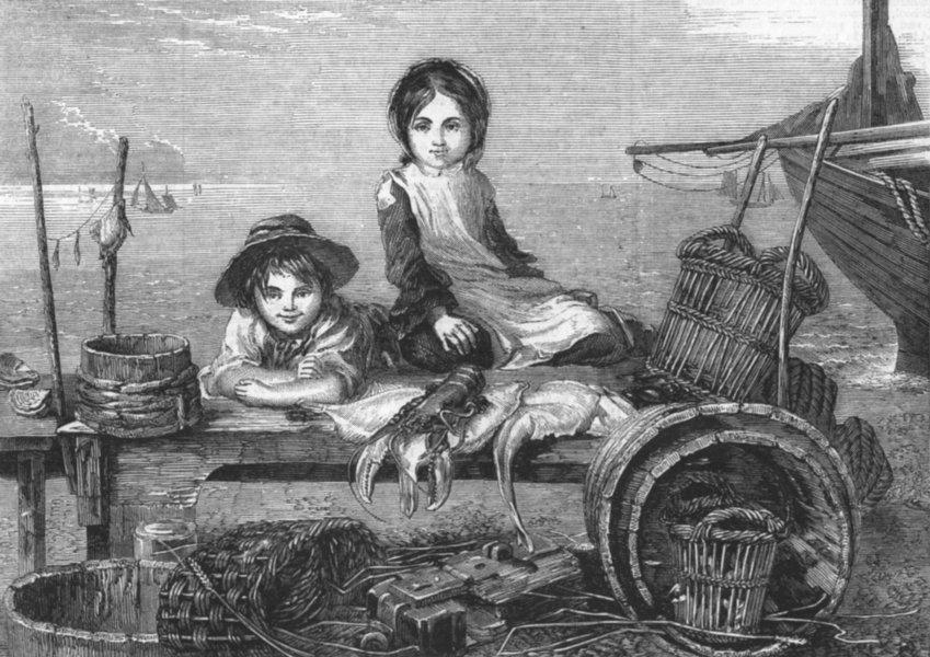 Associate Product CHILDREN. Minding mother's stall-fish market, antique print, 1859