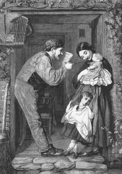 Associate Product FAMILY. The cottage door, antique print, 1859