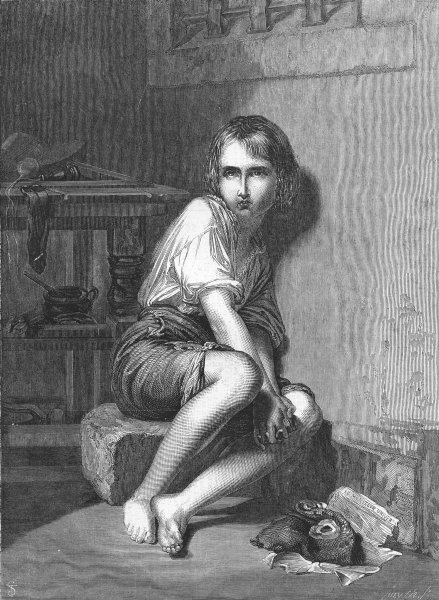Associate Product CHILDREN. Louis XVII In the temple, antique print, 1859