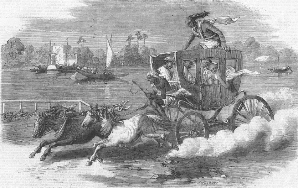 Associate Product INDIA. Keranchie, or Kidrapore Omnibus, antique print, 1859