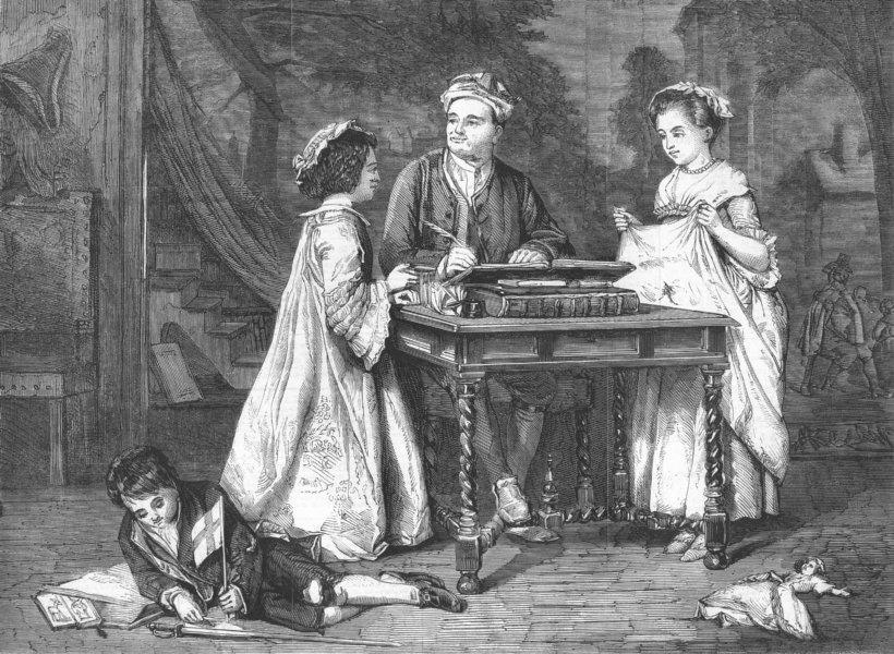 Associate Product CHILDREN. Steele and his children, antique print, 1859