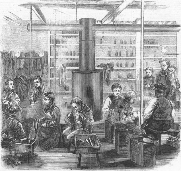 Associate Product LINCOLN'S INN. Boys refuge, Gt Queen St. Shoemaking, antique print, 1859