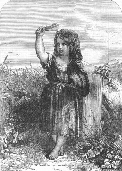 Associate Product CHILDREN. The little scarecrow, antique print, 1857