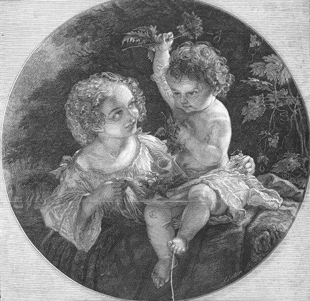 Associate Product CHILDREN. Fine arts. young gardeners, antique print, 1845
