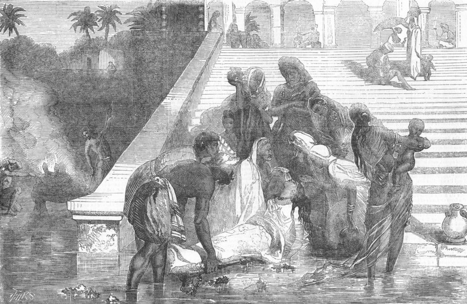 Associate Product INDIA. At a Ghat, Banks of Ganges, antique print, 1857