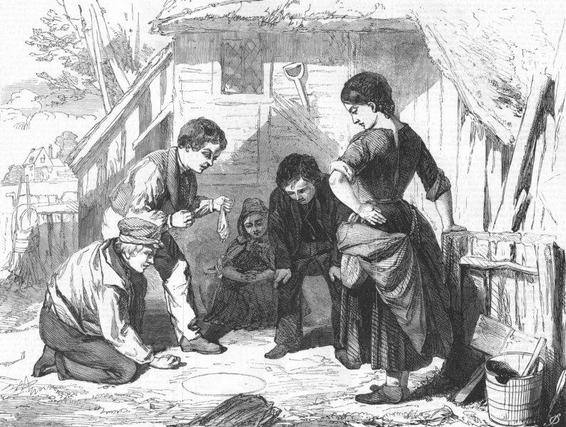 Associate Product CHILDREN. Knuckle down!, antique print, 1858