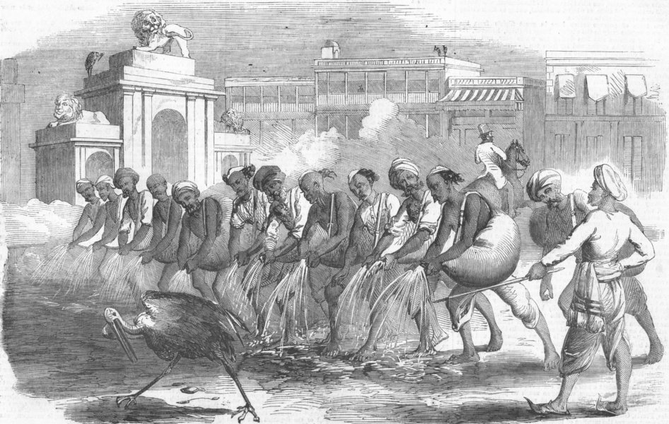 Associate Product INDIA. Mode of watering Kolkata, antique print, 1858