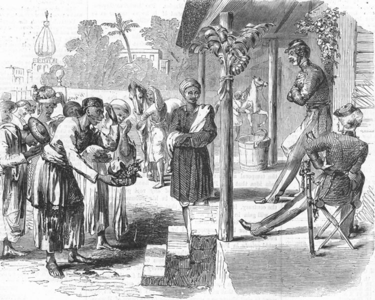 Associate Product INDIA. New-year's day-Servants bringing, Gifts, antique print, 1859