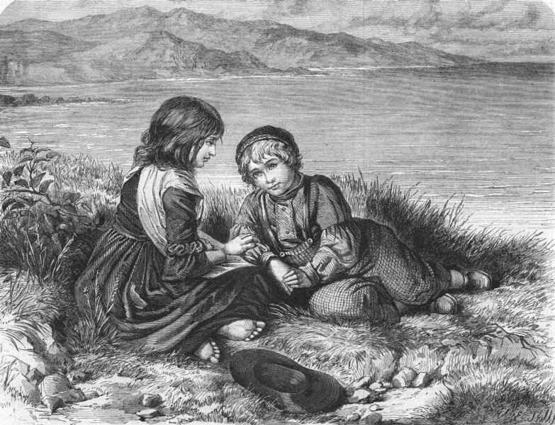 Associate Product CHILDREN. Children on the coast, antique print, 1862