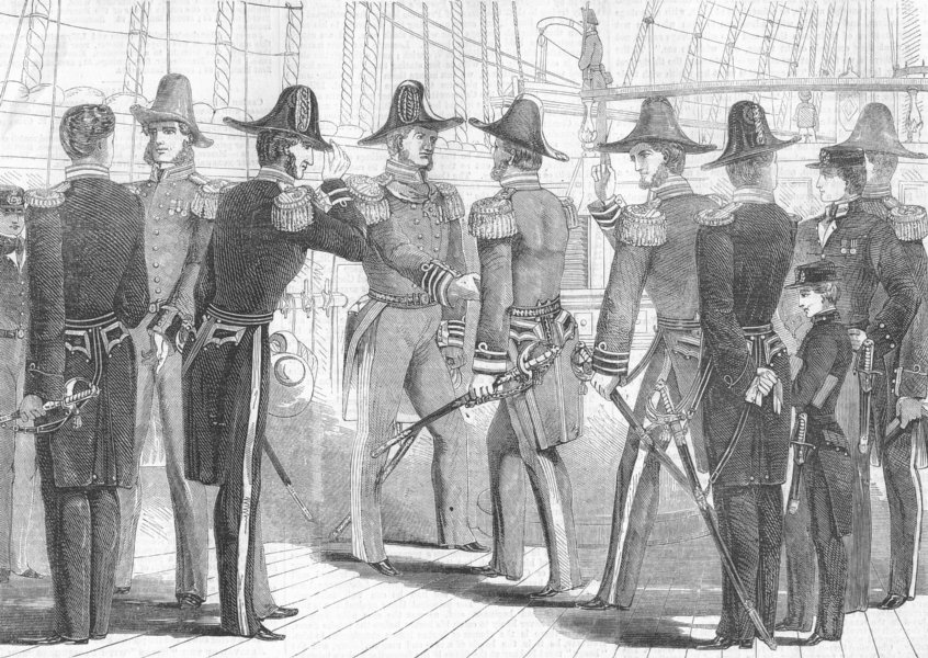 Associate Product MILITARIA. Naval uniform, antique print, 1857
