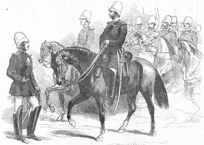 Associate Product INDIA. Kolkata guards(Cavalry), antique print, 1857