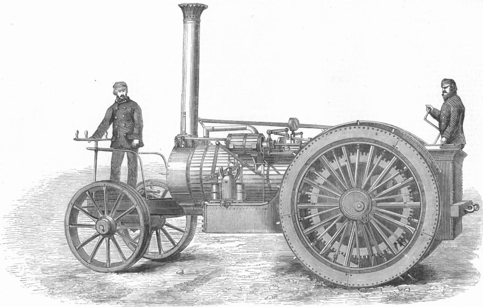 Associate Product ENGINEERING. Bray's patent traction-engine, antique print, 1858