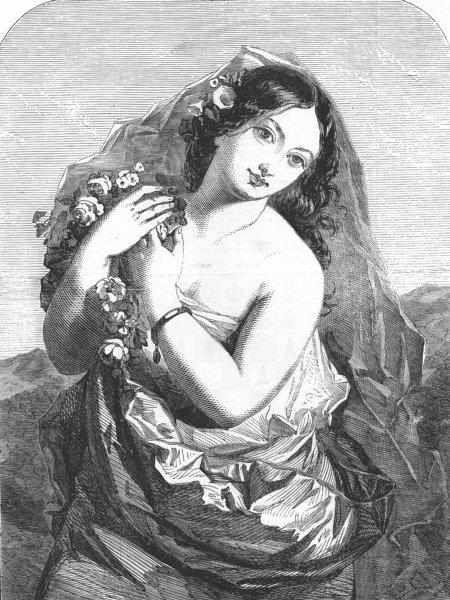 Associate Product PRETTY LADIES. Sunshine, antique print, 1855