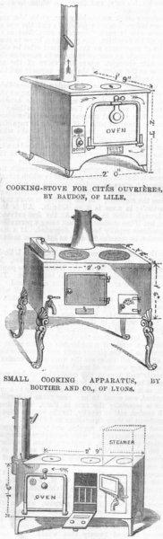 Associate Product STOVES. Cites ouvrieres, Baudon, Lille; Boutier, Lyon, antique print, 1867