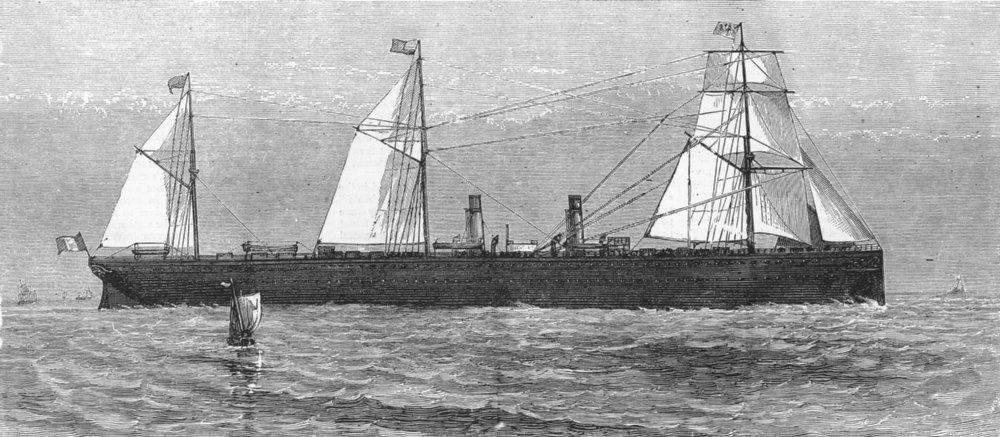 Associate Product FRANCE. The steamship Ville du Havre, antique print, 1873