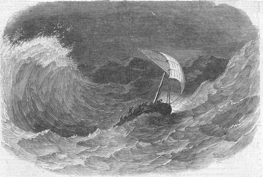 Associate Product SWITZERLAND. Castor's launch in danger, rock survey, antique print, 1852