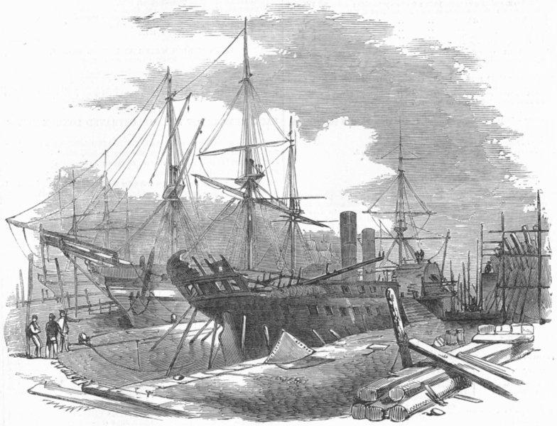 Associate Product BLACKWALL. Indus Ship, fire damaged, Wigram dry dock, antique print, 1852