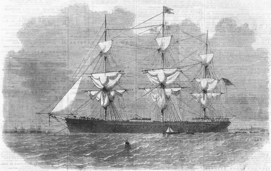 Associate Product LANCS. Gt Tasmania troop-transport, Anchor, Mersey, antique print, 1860