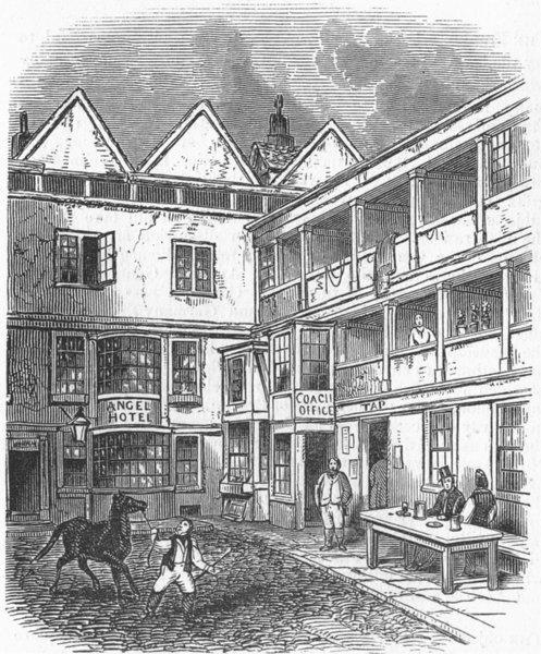 Associate Product ROME. Angel Inn, St Clements, strand, antique print, 1849