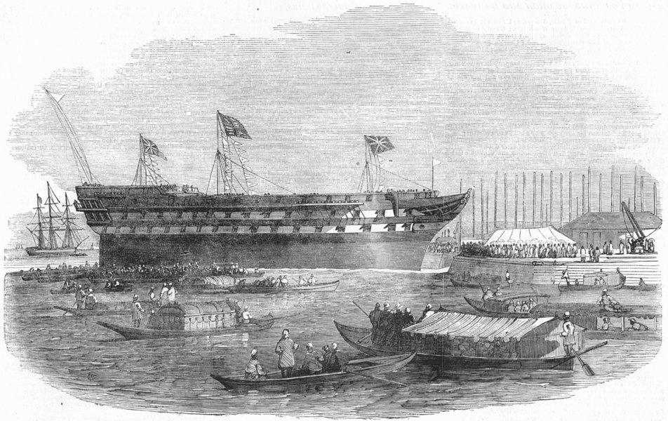 Associate Product INDIA. Launch. Meanee, 80 guns, Mumbai, antique print, 1849