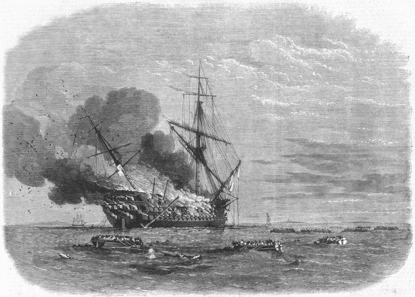 Associate Product INDIA. Burning of HMS Mumbai, Montevideo, antique print, 1865