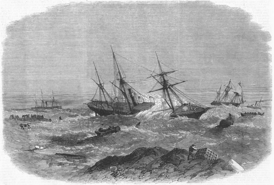 Associate Product NORTHUMBS. Wreck of Ship Earl Percy, Tynemouth, antique print, 1865