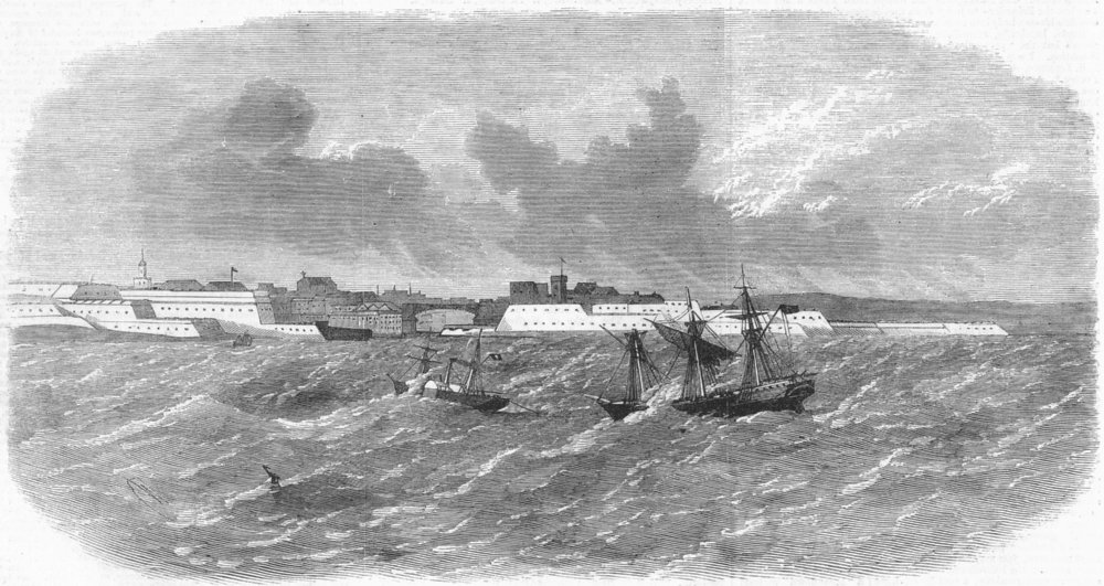 Associate Product BREST. Melmerby troopship towed into Harbour, storm, antique print, 1865