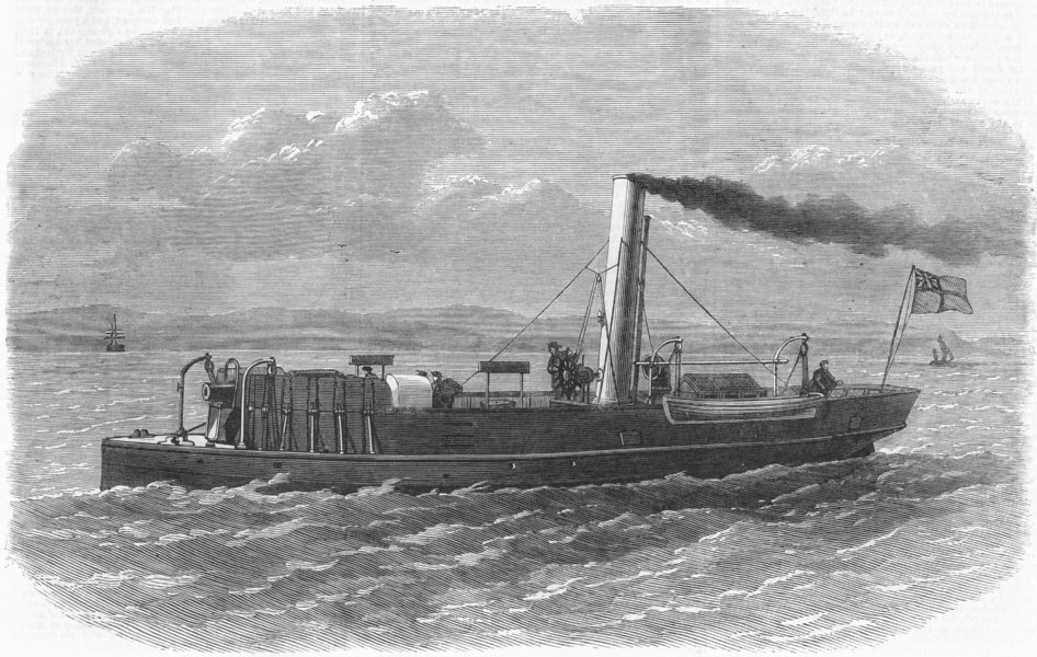 Associate Product NEWCASTLE-ON-TYNE. Gunboat Staunch, built, Elswick, antique print, 1868