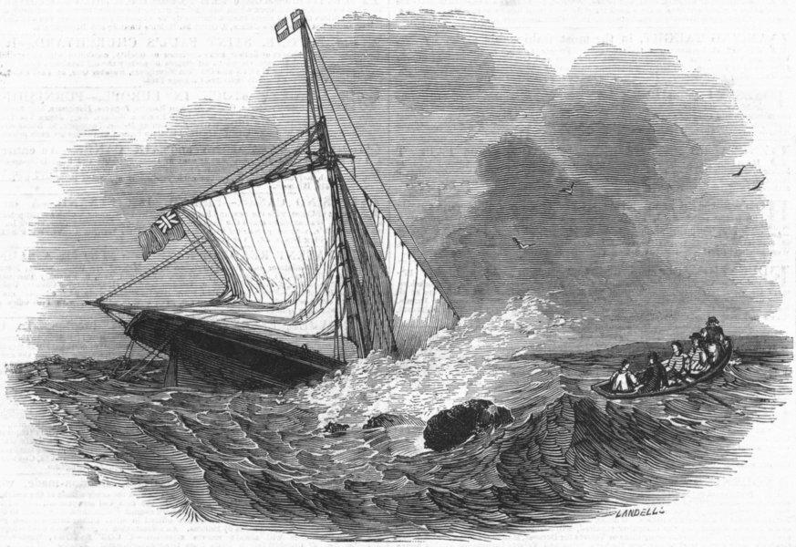 Associate Product SUSSEX. Loss of Yacht Vectis, Bognor, antique print, c1845